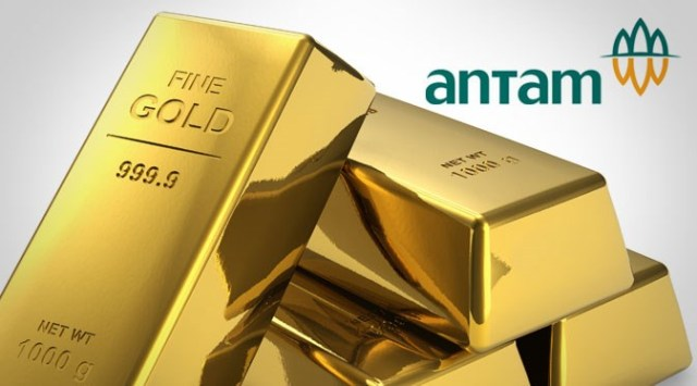 Harga emas yang dijual PT Aneka Tambang Tbk, atau Antam, hari ini